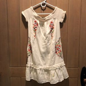 Cream Off The Shoulder Embroidered Dress